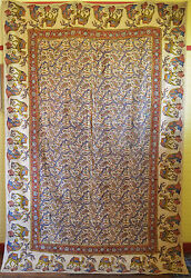 OLD LARGE PERSIAN HAND WOVEN WOODBLOCK PRINTED WOOL TEXTILE ISFAHAN QALAMKAR