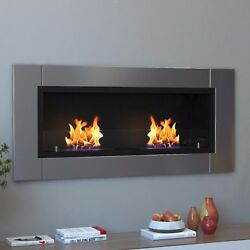 Moda Flame Valencia 43-In Silver Recessed Design Wall Mounted Ethanol Fireplace