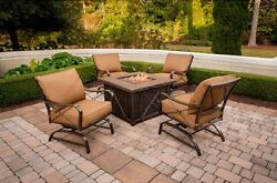 Fire Pit Patio Set Outdoor Furniture Rocking Chairs Yard Deck Propane Fireplace