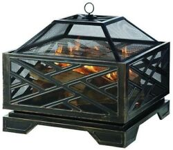 Pleasant Hearth Fire Pit Fireplace Martin Wood Burning 26 in. Extra Deep Outdoor