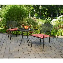 Mainstays Wrought Iron 3 pc Outdoor Bistro Set Seat Pads Garden Patio Furniture