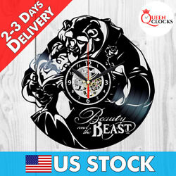 Disney Beauty and the Beast Rose Vinyl Record Wall Clock Best Gift Decor Items $24.99
