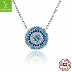 Authentic Pendant for Women 925 Sterling Round Blue Zircon Crystals CZ Necklaces $17.78