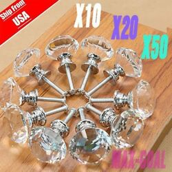 LOT Crystal Glass Cabinet Knob Diamond Shape 30mm Drawer Cupboard Handle Pull EJ