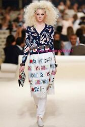 NWT CHANEL 15C NAVY CASHMERE FLORAL PRINT SWEATER CARDIGAN JACKET 34