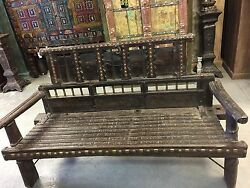 Indian Antique Iron Brass Old World Patina Ox Cart Farm Day Bed Bench Teak Sofa