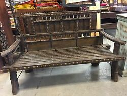Antique Cart Hand Carved Rustic Bench Teak Sofa Iron Brass Patina Dark Wooden