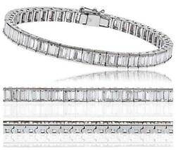 Diamond Tennis Bracelet: Certified 8.00ct F VS Baguette Cut in 18ct White Gold