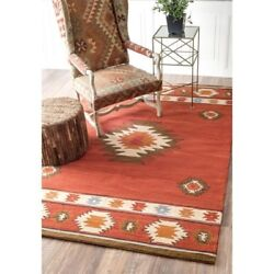 Nuloom 7' 6 X 9' Hand Tufted Shyla Rug Area Rugs Natural Fibers Wool In Wine