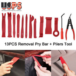 13X Car Door Card Panel Trim Clip Removal Pliers+ Uphostery Remove Pry Bar Tool