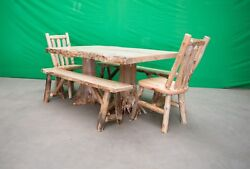 Northern Rustic Pine Log Stump Dining Table - 2 Benches 2 Chairs - $2199