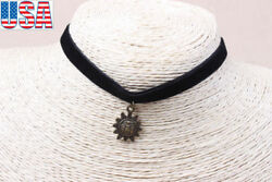 Fashion Jewelry Black velvet chain necklace with sunflower necklace pendant