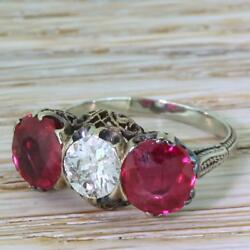 ART DECO 0.80ct OLD CUT DIAMOND & SYNTHETIC RUBY TRILOGY RING - Silver - c 1930