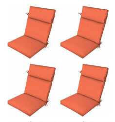 Orange Patio Chair Cushions Set of 4 Outdoor Replacement Seats Pads Furniture