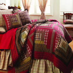 7PC King Size Quilt Set Country LOG CABIN Style Reversible Patchwork Bedding