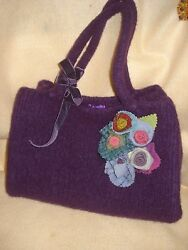 Whim Rose Projects Felted Boiled Wool Handbag Colorful Purple added Flowers