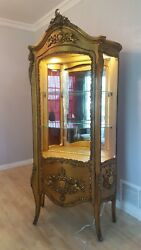 French Louis Style Gold Gilt Vitrine Curio Display China Cabinet