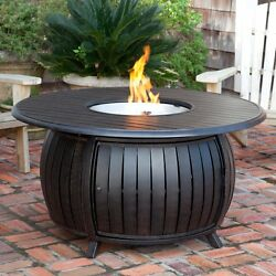 Fire Sense Round Fire Pit Table with Cover Bronze