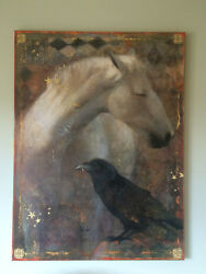 Original oil painting by Mccreery Jordan of horse and raven.