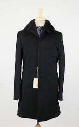 New BRIONI Black Cashmere Blend W Fur And Leather Trimmings Coat Size S $7895