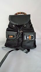 GUCCI BLACK PATENT& LEATHER BACKPACK WITH BAMBOO & SILVER TONE ACCENTS -UNUSED