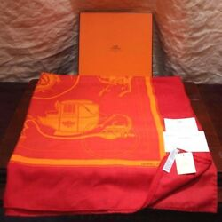 Hermes Scarf Scarves Stole Cashmere Silk Horse Carriage Women Red Orange Auth