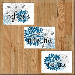 Blue and Gray Bathroom Wall Art Decor Prints Picture Floral Unwind Relax Refresh $12.28