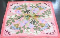 Hermes Carre 90 Scarf Scarves Stole Cashmere Silk Floral Pink Women Auth Rare