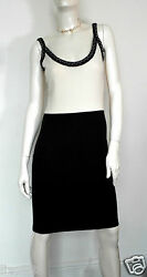 NEW Chanel Black and White Cashmere Spaghetti Strap Sweater Dress Sz FR 38