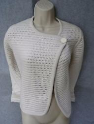 HERMES NWT $4200 WHITE CARDIGAN KNIT SWEATER SZ 38 AUTHENTIC NEW CASHMERE COTTON