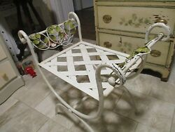 THE BEST*ANTIQUE TOLE METAL WILD ROSES GARDEN PINK Vanity Chair Stool BENCH ARMS