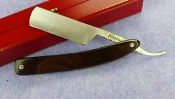 78 Robert Williams Round Point Straight Razor - black G10 fiberglass Micarta