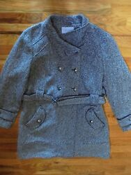 RELATIVITY WOOL BLEND BUTTON CLOSURE BELTED COAT  WOMENS XL WHITEBLACK USED