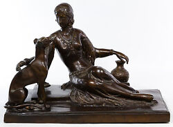 BRONZE Female with Dog Sgnd Joseph D'Aste-LARGE & HEAVY