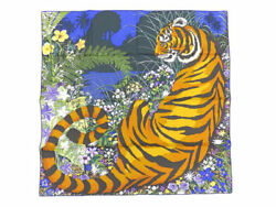 Hermes Carre Scarf Stole Shawl Tiger Tyger Silk 100% Animal Women Auth New Rare
