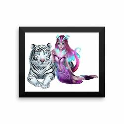 'Anime Alien Girl with Tiger' Framed Poster