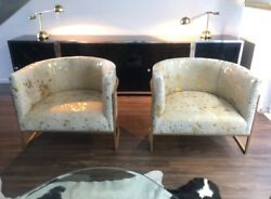 Gold Acid Wash Cowhide & Brass Arm Chairs Low Profile Lounge Chairs PAIR