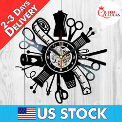 Sewing Room Decor Sew Threads Needle Hobby Vinyl Record Wall Clock Best Gifts $29.99