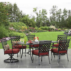 Outdoor Patio Furniture Garden Dining Set 7 Piece Swivel Chairs Table Yard Deck