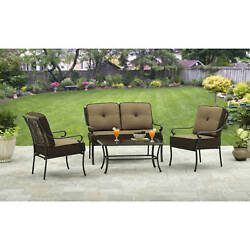 Patio Dining Set Aluminum Outdoor Garden Bistro Furniture 4 Piece Table Chairs