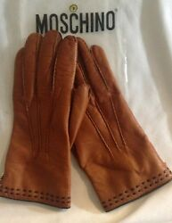 Moschino Woman's Gloves Rust with Brown Stripe Leather  Cashmere Lined Size 8