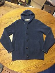 Brunello Cucinelli Mens Shawl Hood toggle front Cashmere Cardigan Ink Blue Size