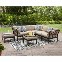 7 Piece Outdoor Dining Set Garden Patio Furniture Bistro Sectional Sofa Deck