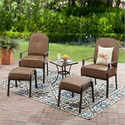 5 Piece Outdoor Dining Set Bistro Patio Furniture Ottoman Chairs Table Garden 1d