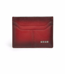 NIB Tod's Men's Ombre Italian Leather Credit Card Case Wallet - Dark Red - Boxed