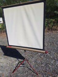 Vintage Hunter Starlight Portable Cine Projector Screen on a Tripod