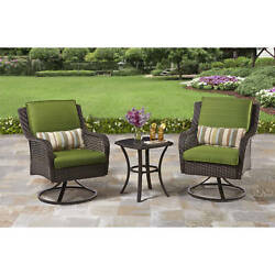 Outdoor Patio Bistro Set Wicker Garden Furniture Swivel Chairs Table Dining 1d