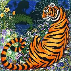 Hermes Carre 140 Shawl Stole Scarf Cashmere Silk Tiger Animal Pattern Auth Rare