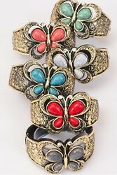 LOT OF 6 GOLD BUTTERFLY BANGLE BRACELETS HINGED CUFF TURQUOISE BLUE RED WHITE $12.95