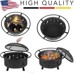 Outdoor Wood Burning Heater Steel Bowl Fire Pit Firepit BBQ Stove Star